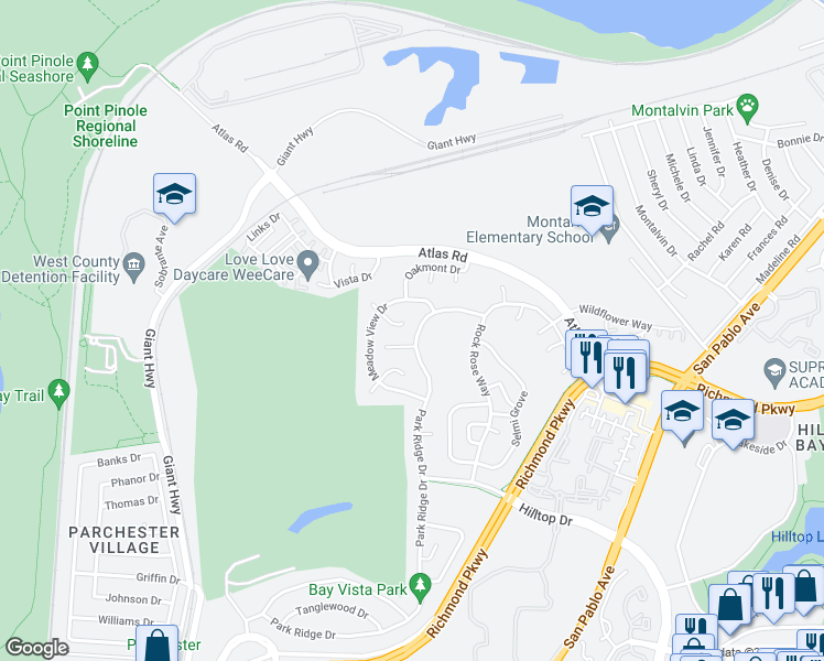 map of restaurants, bars, coffee shops, grocery stores, and more near 3655 Park Ridge Drive in Richmond