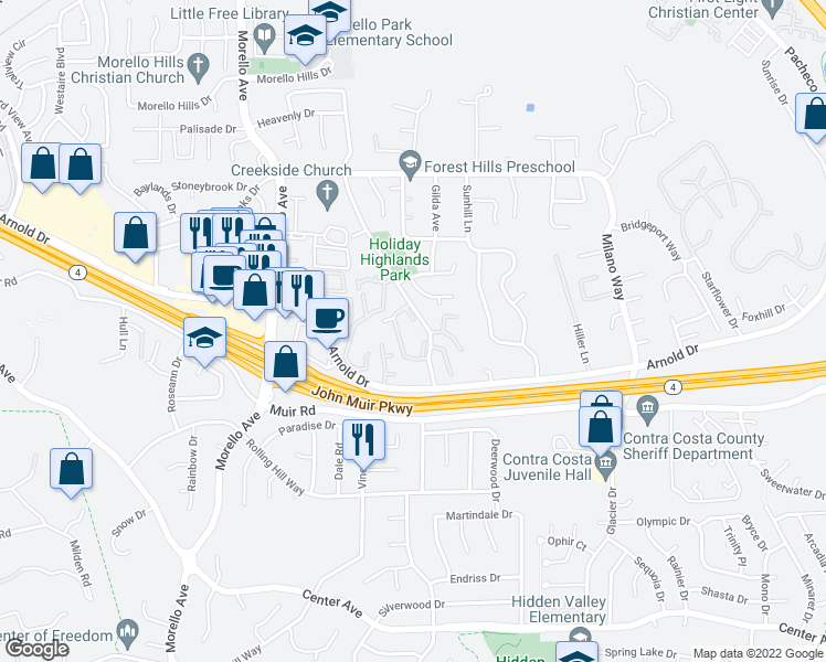map of restaurants, bars, coffee shops, grocery stores, and more near 142 Fig Tree Lane in Martinez