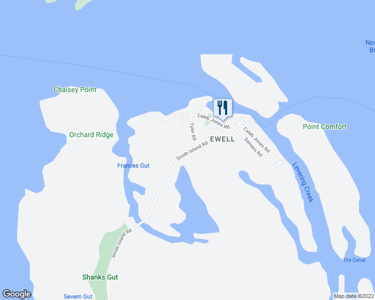 map of restaurants, bars, coffee shops, grocery stores, and more near 3982 Smith Island Road in Smith Island