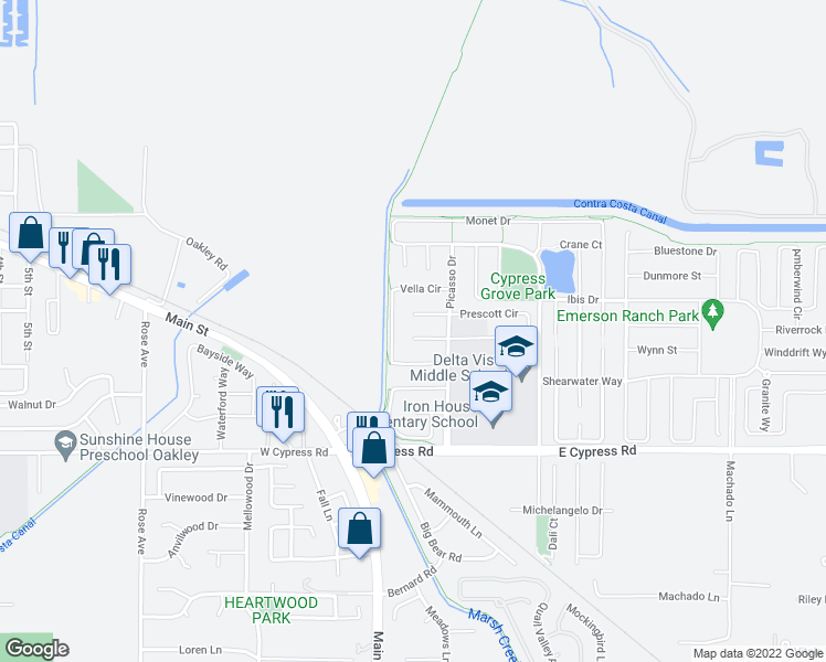 map of restaurants, bars, coffee shops, grocery stores, and more near 34 Vignola Court in Oakley