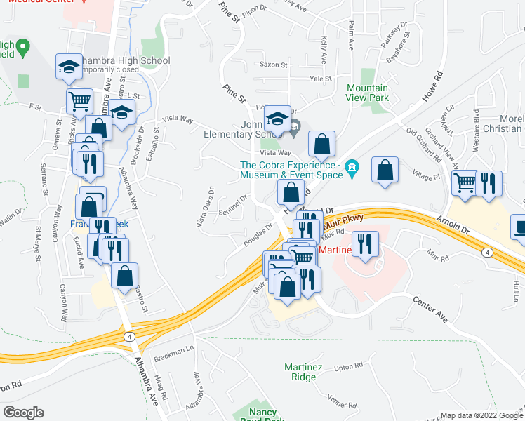 map of restaurants, bars, coffee shops, grocery stores, and more near 3600 Pine Street in Martinez