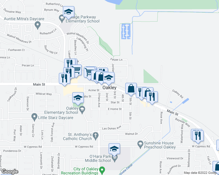 map of restaurants, bars, coffee shops, grocery stores, and more near in Oakley