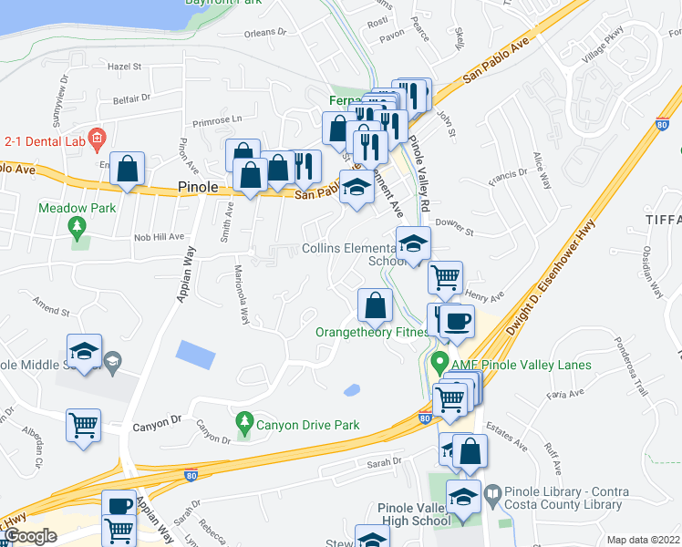 map of restaurants, bars, coffee shops, grocery stores, and more near 1006 Francisca Court in Pinole