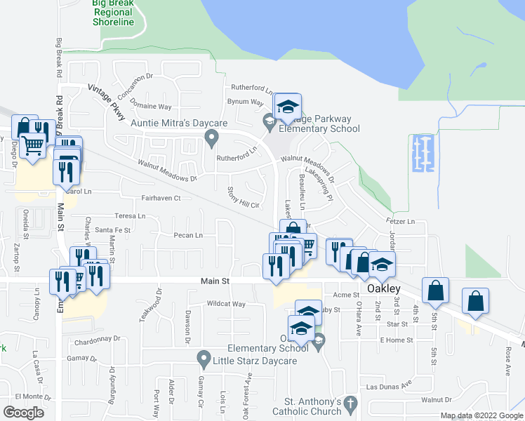map of restaurants, bars, coffee shops, grocery stores, and more near Stony Hill Court in Oakley