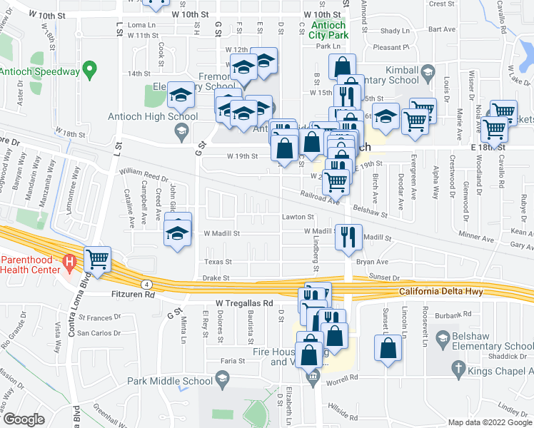 map of restaurants, bars, coffee shops, grocery stores, and more near 318 Lawton Street in Antioch