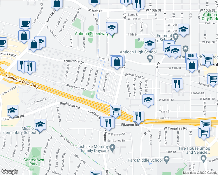map of restaurants, bars, coffee shops, grocery stores, and more near 2300 Peppertree Way in Antioch