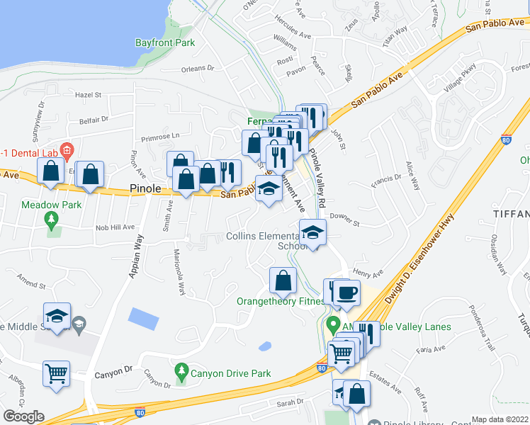 map of restaurants, bars, coffee shops, grocery stores, and more near 1026 Francisca Court in Pinole