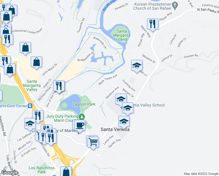 map of restaurants, bars, coffee shops, grocery stores, and more near 125 Edward Avenue in San Rafael