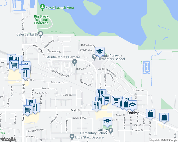 map of restaurants, bars, coffee shops, grocery stores, and more near 1400 Walnut Meadows Drive in Oakley