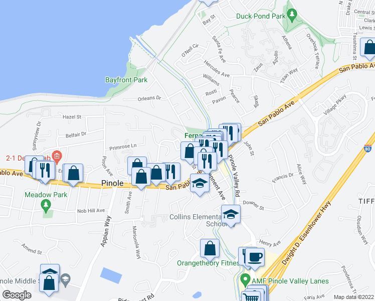 map of restaurants, bars, coffee shops, grocery stores, and more near 566 Tennent Ave in Pinole