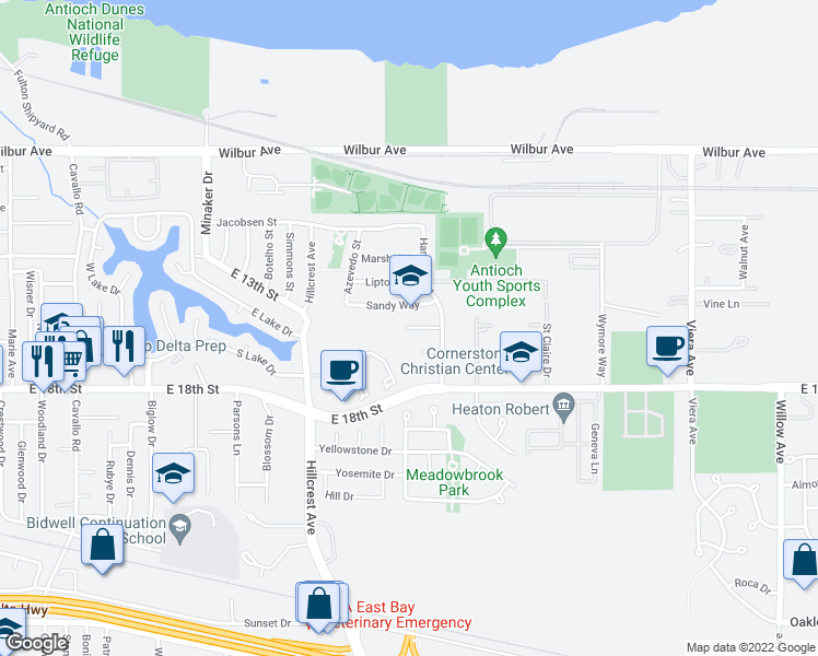 map of restaurants, bars, coffee shops, grocery stores, and more near Sandy Ct in Antioch