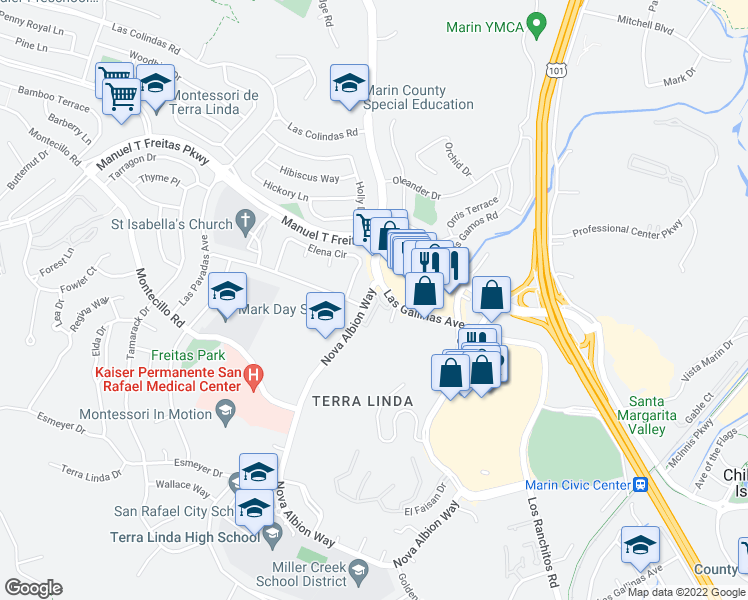 map of restaurants, bars, coffee shops, grocery stores, and more near 101 Nova Albion Way in San Rafael