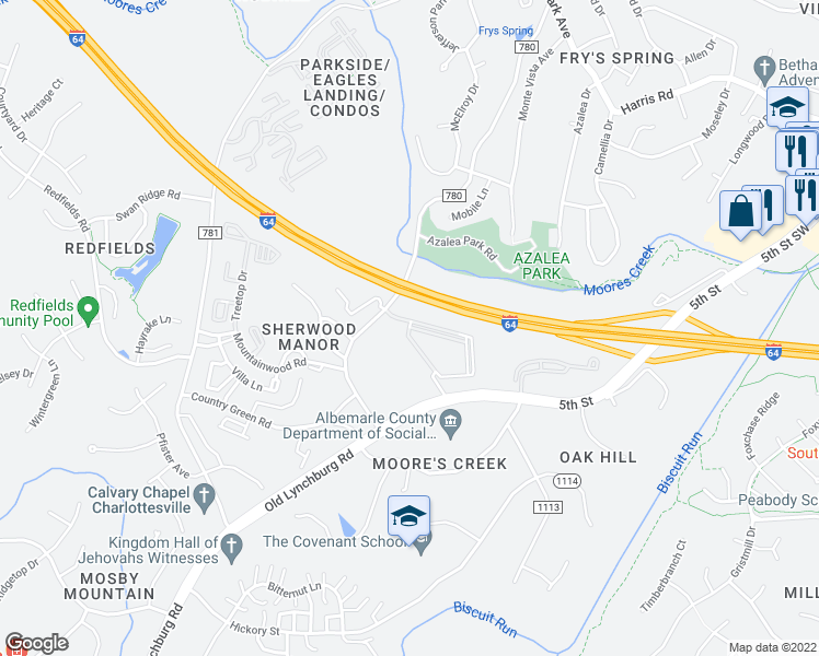 map of restaurants, bars, coffee shops, grocery stores, and more near 100 Wahoo Way in Charlottesville