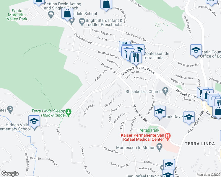 map of restaurants, bars, coffee shops, grocery stores, and more near Surrey Lane in San Rafael