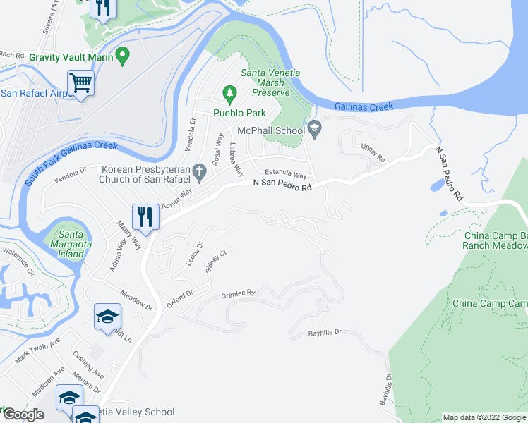 map of restaurants, bars, coffee shops, grocery stores, and more near 90 Sunny Oaks Drive in San Rafael