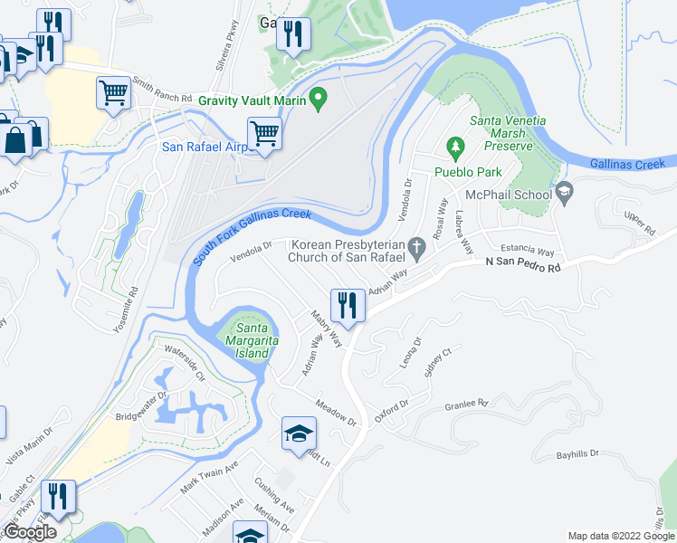 map of restaurants, bars, coffee shops, grocery stores, and more near 112 Hawthorne Way in San Rafael
