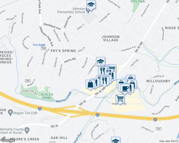 map of restaurants, bars, coffee shops, grocery stores, and more near 115 Longwood Drive in Charlottesville
