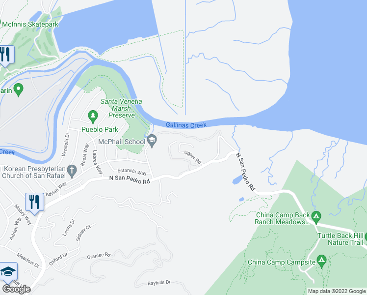 map of restaurants, bars, coffee shops, grocery stores, and more near 400 Upper Road in San Rafael