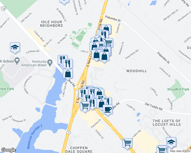 map of restaurants, bars, coffee shops, grocery stores, and more near 300 Quinton Court in Lexington