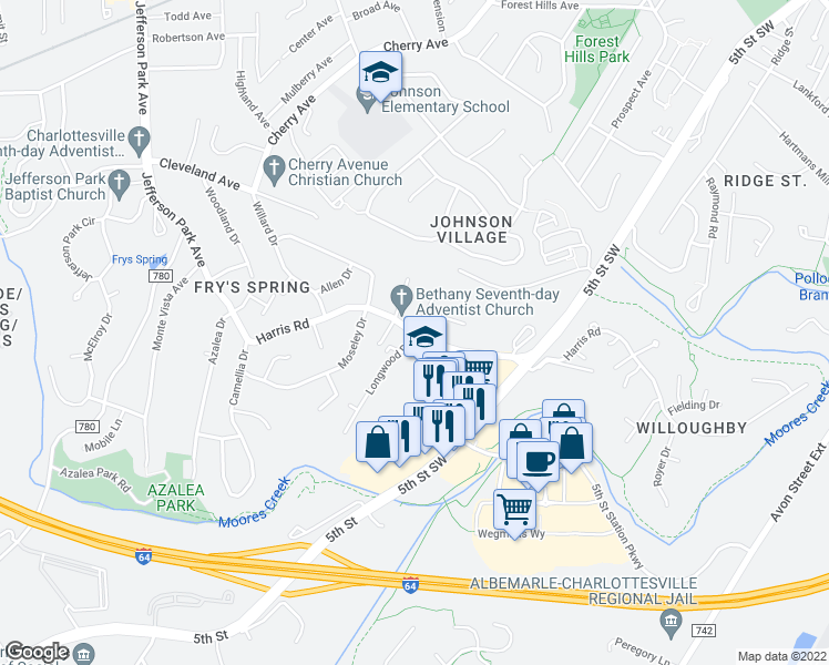 map of restaurants, bars, coffee shops, grocery stores, and more near Harris Rd & Longwood Dr in Charlottesville