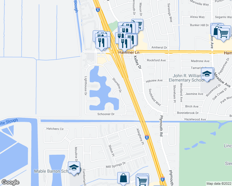 map of restaurants, bars, coffee shops, grocery stores, and more near 3250 Lakeshore Court in Stockton