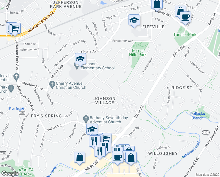 map of restaurants, bars, coffee shops, grocery stores, and more near 102 Antoinette Court in Charlottesville
