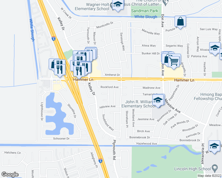 map of restaurants, bars, coffee shops, grocery stores, and more near 7724 Dorchester Way in Stockton
