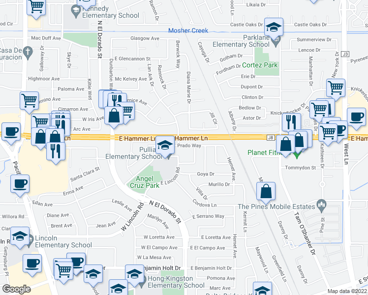 map of restaurants, bars, coffee shops, grocery stores, and more near 320 Prado Way in Stockton