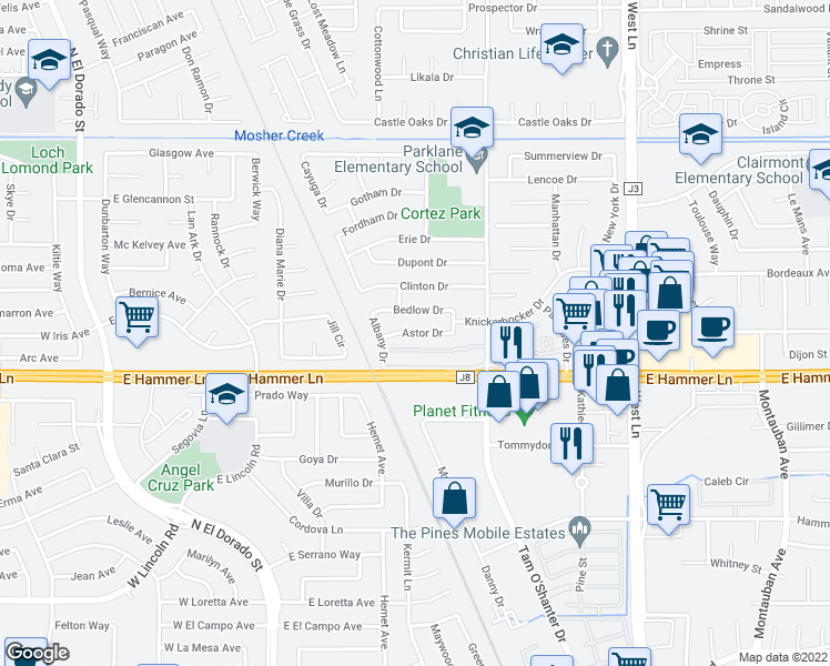 map of restaurants, bars, coffee shops, grocery stores, and more near 720 Astor Dr in Stockton