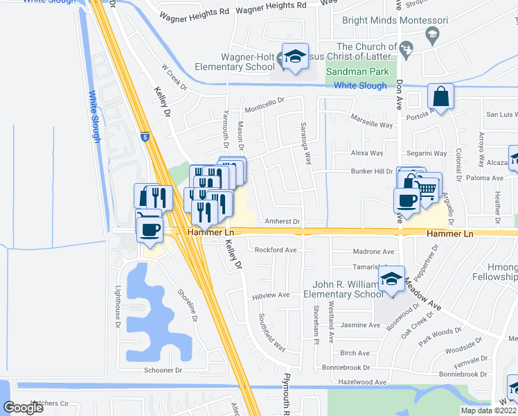 map of restaurants, bars, coffee shops, grocery stores, and more near 7929 Montgomery Avenue in Stockton
