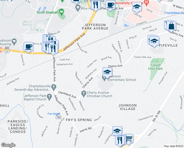 map of restaurants, bars, coffee shops, grocery stores, and more near 1622 Mulberry Avenue in Charlottesville