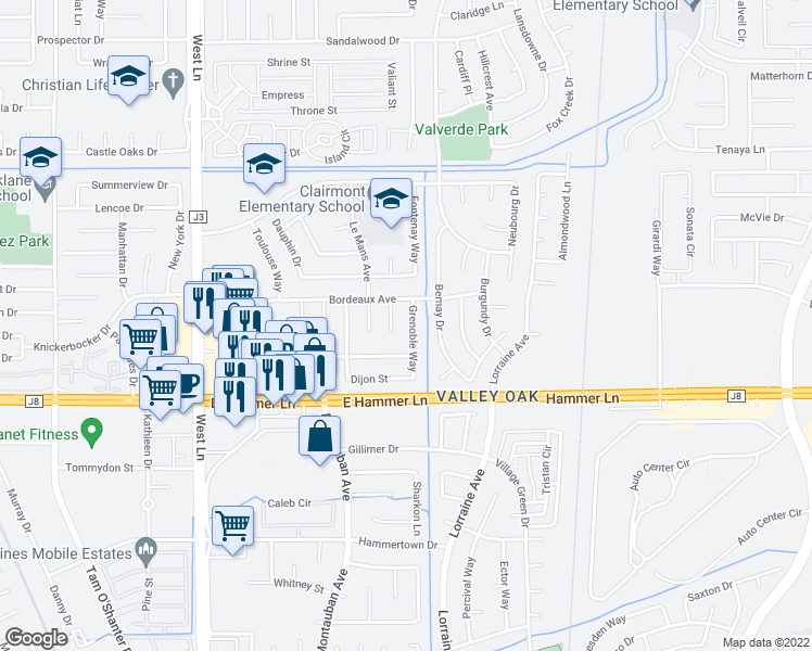 map of restaurants, bars, coffee shops, grocery stores, and more near 8107 Grenoble Way in Stockton