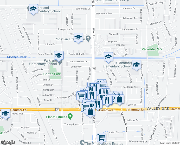 map of restaurants, bars, coffee shops, grocery stores, and more near 8308 New York Drive in Stockton