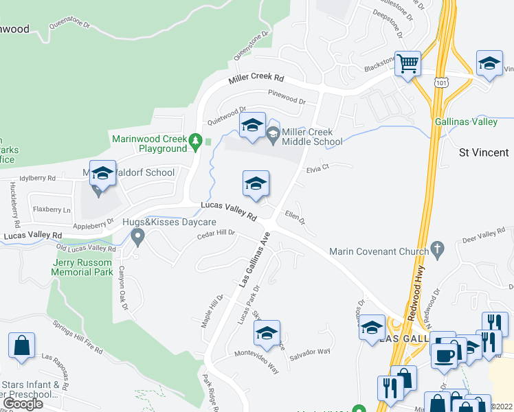 map of restaurants, bars, coffee shops, grocery stores, and more near in San Rafael