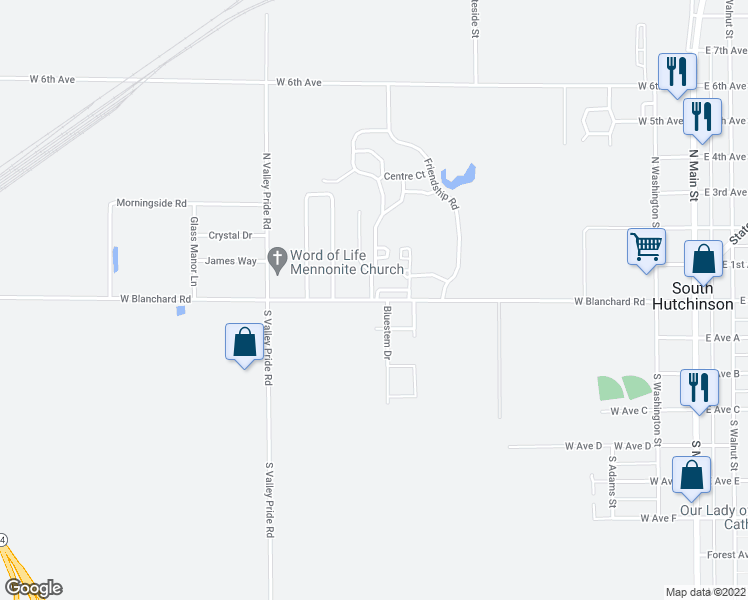 map of restaurants, bars, coffee shops, grocery stores, and more near 600 West Blanchard Road in South Hutchinson