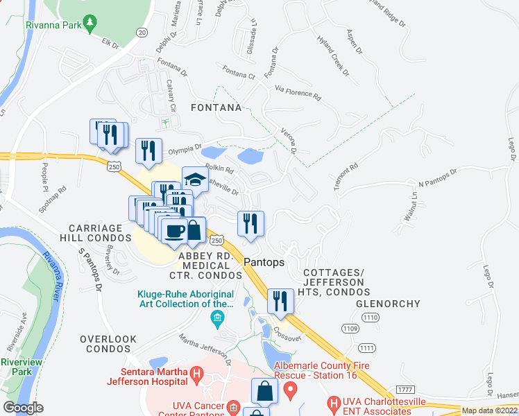 map of restaurants, bars, coffee shops, grocery stores, and more near Saranac Court in Charlottesville