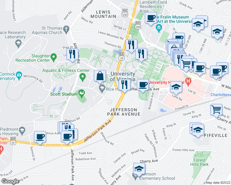 map of restaurants, bars, coffee shops, grocery stores, and more near 100 Stadium Road in Charlottesville