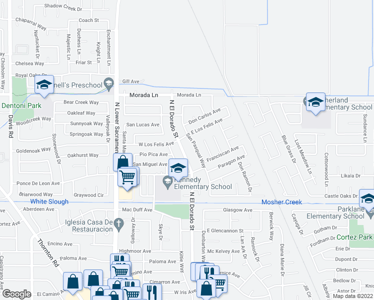 map of restaurants, bars, coffee shops, grocery stores, and more near 8924 North El Dorado Street in Stockton