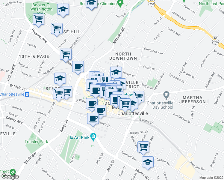 map of restaurants, bars, coffee shops, grocery stores, and more near 301-399 2nd Street Northeast in Charlottesville