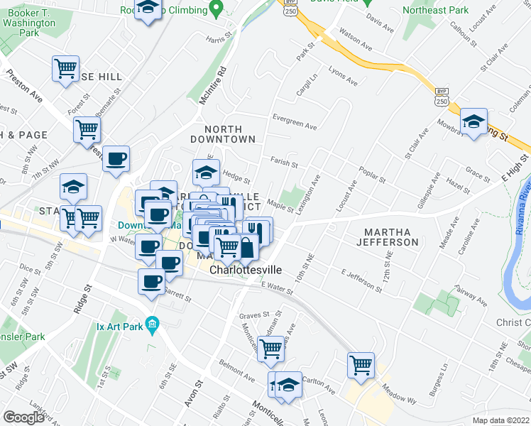 map of restaurants, bars, coffee shops, grocery stores, and more near 701 East High Street in Charlottesville