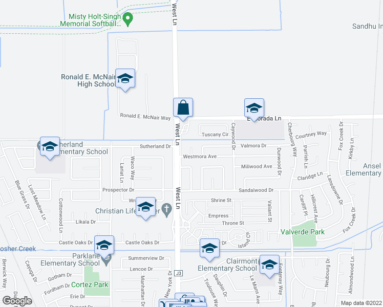 map of restaurants, bars, coffee shops, grocery stores, and more near 1504 Westmora Avenue in Stockton
