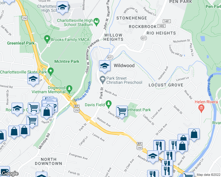 map of restaurants, bars, coffee shops, grocery stores, and more near 602 Wilder Drive in Charlottesville