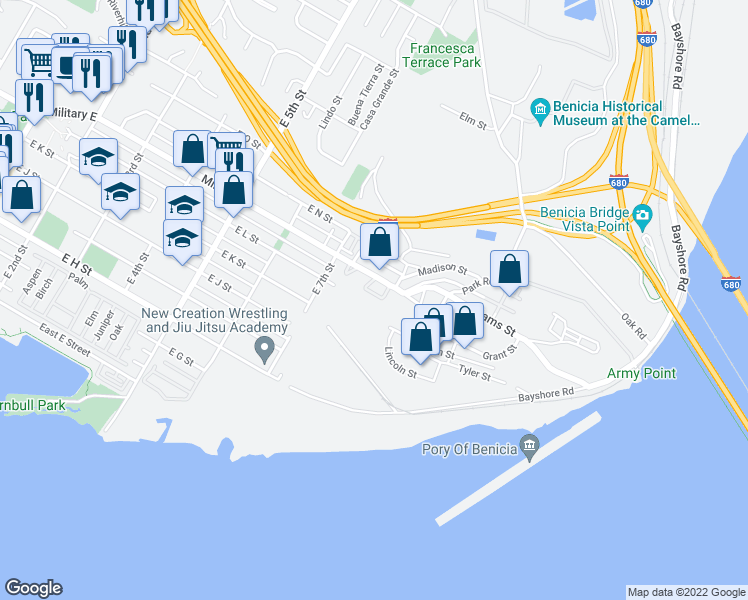 map of restaurants, bars, coffee shops, grocery stores, and more near 788 Military East in Benicia