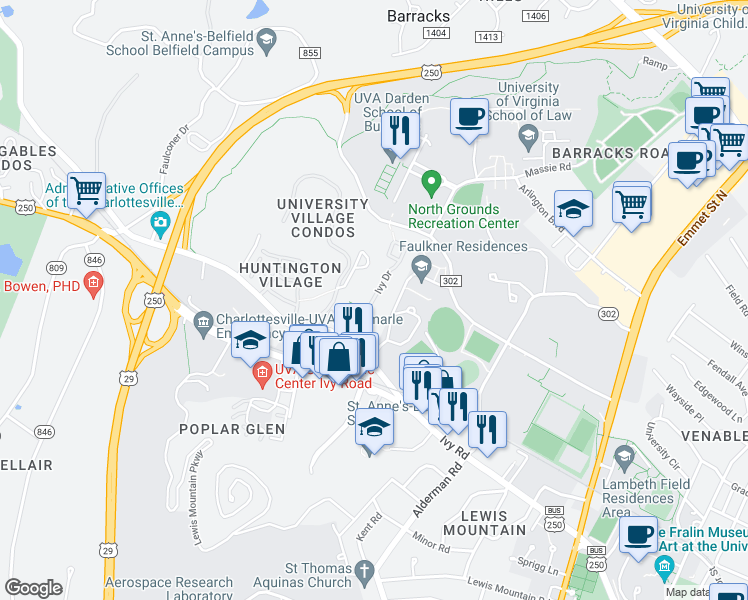 map of restaurants, bars, coffee shops, grocery stores, and more near Ivy Drive in Charlottesville
