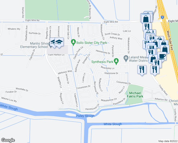 map of restaurants, bars, coffee shops, grocery stores, and more near 5623 Melones Way in Stockton