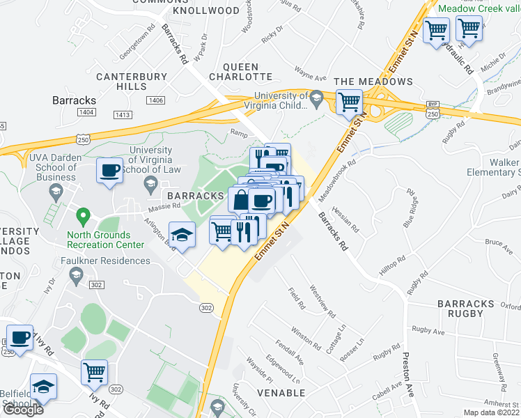 map of restaurants, bars, coffee shops, grocery stores, and more near 1101 Emmet St N in Charlottesville