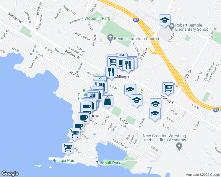 map of restaurants, bars, coffee shops, grocery stores, and more near 106 East K Street in Benicia