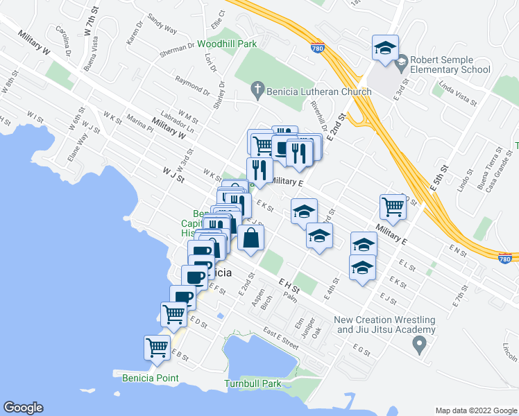 map of restaurants, bars, coffee shops, grocery stores, and more near 114 East K Street in Benicia