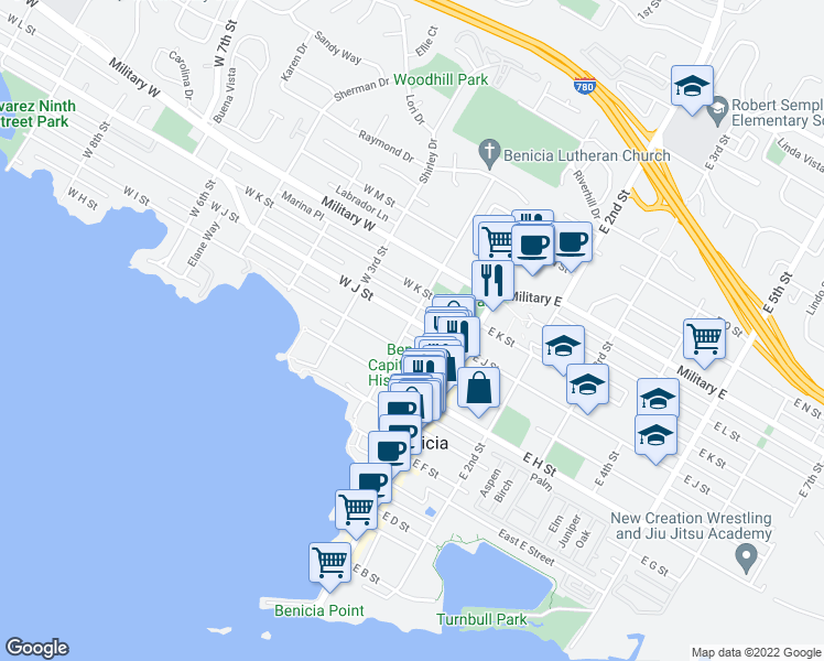 map of restaurants, bars, coffee shops, grocery stores, and more near 190 West J Street in Benicia