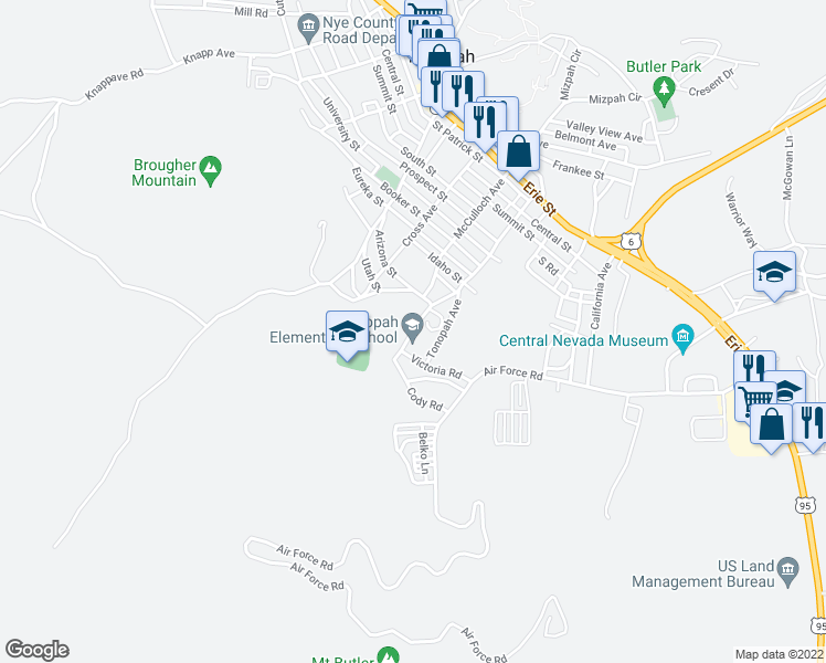 map of restaurants, bars, coffee shops, grocery stores, and more near 1000 Idaho Circle in Tonopah
